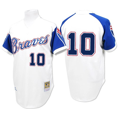 Men s Majestic Atlanta Braves  10 Chipper Jones Authentic White 1974  Throwback MLB Jersey a82caee05