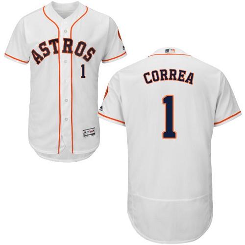 68e901f5c Men s Majestic Houston Astros  1 Carlos Correa Authentic White Home Cool  Base MLB Jersey