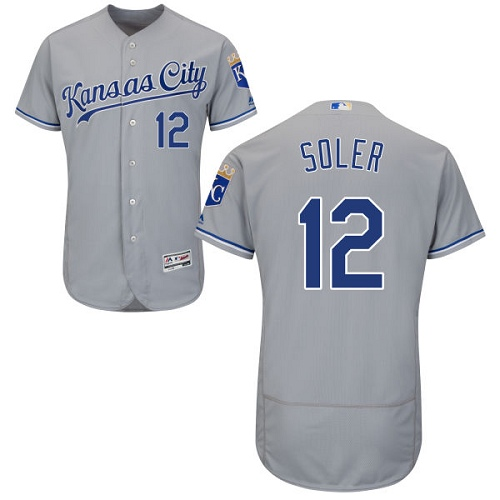 e64a7b17b Men s Majestic Kansas City Royals  12 Jorge Soler Grey Flexbase Authentic  Collection MLB Jersey