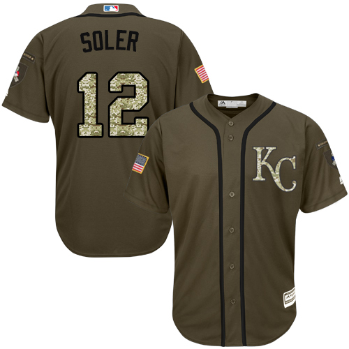 5a188a1a8 Men s Majestic Kansas City Royals  12 Jorge Soler Authentic Green Salute to  Service MLB Jersey