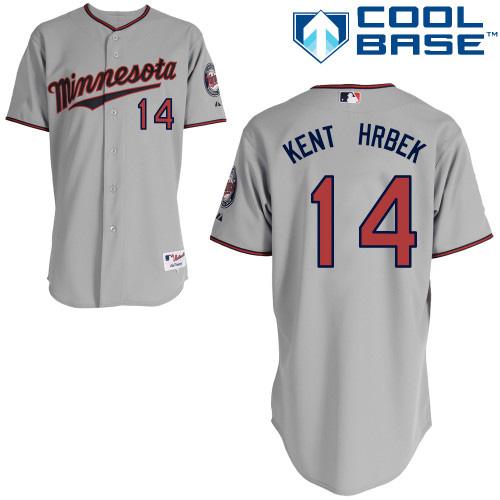 ad243aae3f5 Men's Majestic Minnesota Twins #14 Kent Hrbek Authentic Grey Road Cool Base  MLB Jersey