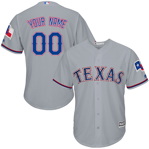 9ada6130348 Men's Majestic Texas Rangers Customized Replica Grey Road Cool Base MLB  Jersey