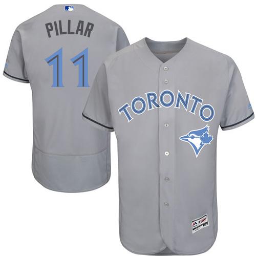 01b48ad3b Men s Majestic Toronto Blue Jays  11 Kevin Pillar Authentic Gray 2016  Father s Day Fashion Flex