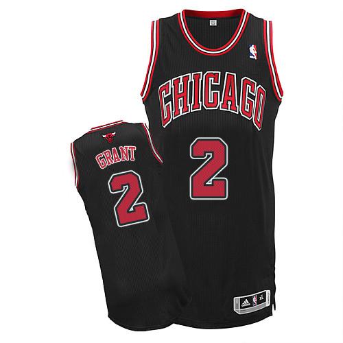 Men s Adidas Chicago Bulls  2 Jerian Grant Authentic Black Alternate NBA  Jersey a81c85baa