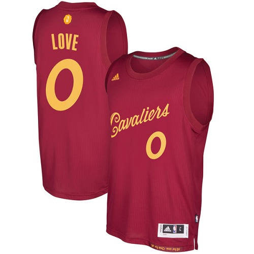 36bd7cda5 Men s Adidas Cleveland Cavaliers  0 Kevin Love Authentic Wine Red 2016-2017  Christmas Day
