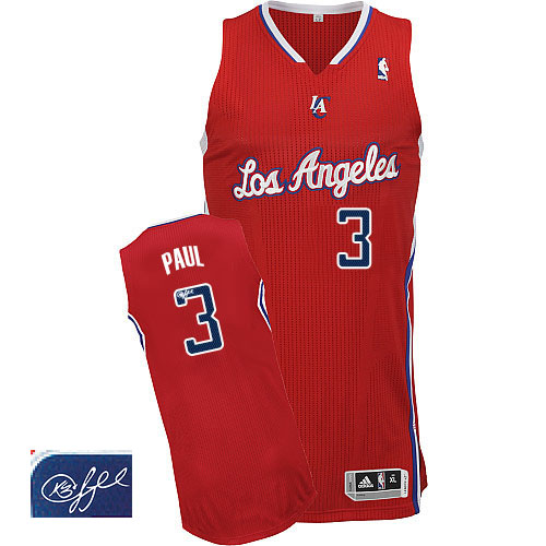 fffc2362f Men s Adidas Los Angeles Clippers  3 Chris Paul Authentic Red Road  Autographed NBA Jersey