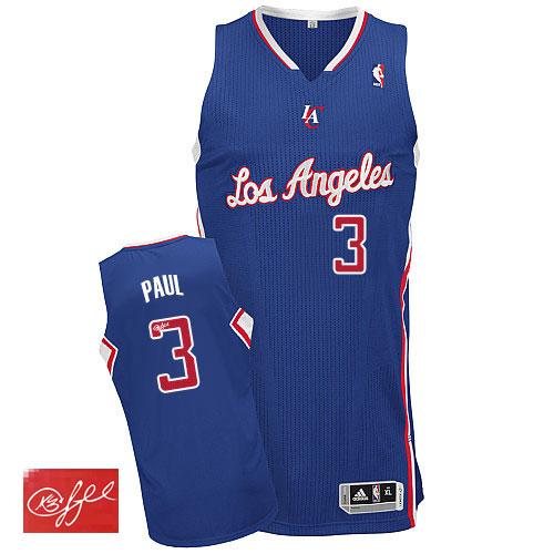 Men s Adidas Los Angeles Clippers  3 Chris Paul Authentic Royal Blue  Alternate Autographed NBA Jersey eec46943f