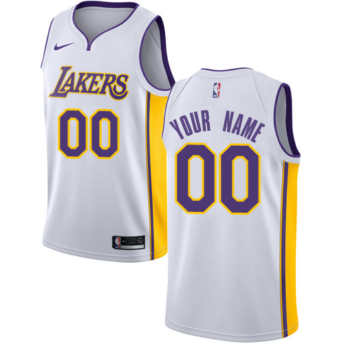02d809e6dd05 Men s Adidas Los Angeles Lakers Customized Authentic White Alternate NBA  Jersey