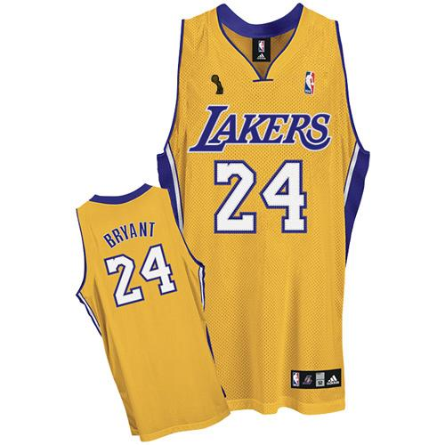 Men s Adidas Los Angeles Lakers  24 Kobe Bryant Authentic Gold Home  Champions Patch NBA Jersey 9373ecec9