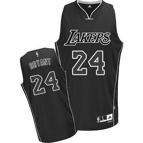 Men s Adidas Los Angeles Lakers  24 Kobe Bryant Authentic Black White NBA  Jersey 9613dac01