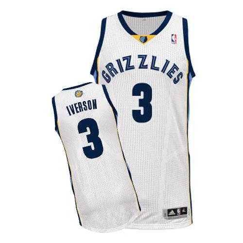 5232da20d52 Men s Adidas Memphis Grizzlies  3 Allen Iverson Authentic White Home NBA  Jersey