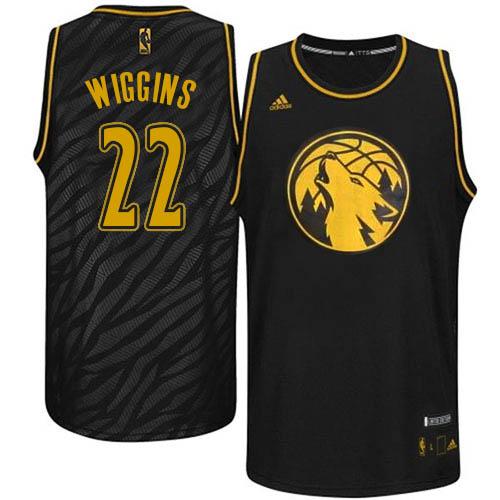 Men s Adidas Minnesota Timberwolves  22 Andrew Wiggins Authentic Black  Precious Metals Fashion NBA Jersey bddc1f967
