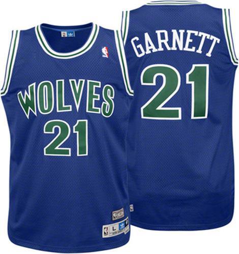 Men s Adidas Minnesota Timberwolves  21 Kevin Garnett Authentic Blue  Throwback NBA Jersey c6bbde0c5