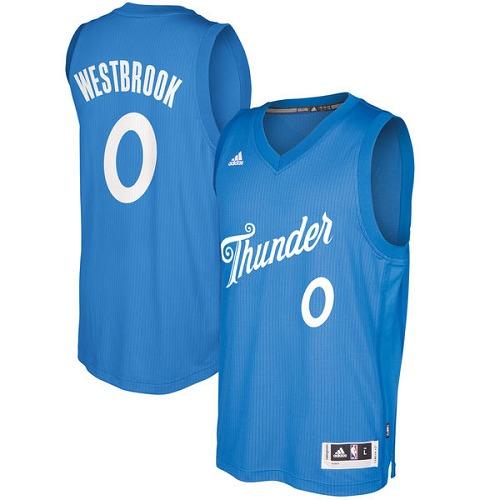 0fc650b8f8c7 Men s Adidas Oklahoma City Thunder  0 Russell Westbrook Authentic Royal Blue  2016-2017 Christmas