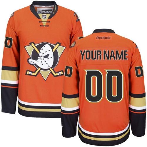 9602557c7 Men's Reebok Anaheim Ducks Customized Authentic Orange Third NHL Jersey