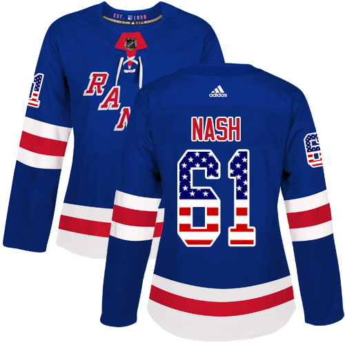 Women s Adidas New York Rangers  61 Rick Nash Authentic Royal Blue USA Flag  Fashion NHL 4b5e9009c