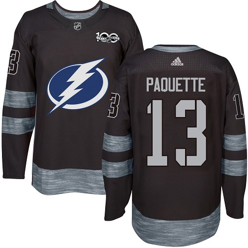 Men s Adidas Tampa Bay Lightning  13 Cedric Paquette Authentic Black  1917-2017 100th Anniversary 045e77a87