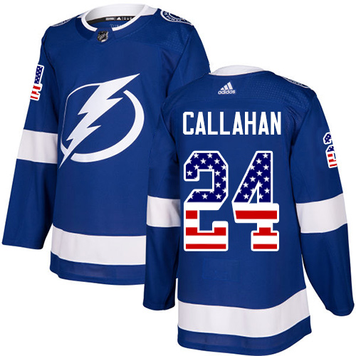 Men s Adidas Tampa Bay Lightning  24 Ryan Callahan Authentic Blue USA Flag  Fashion NHL Jersey 04fe4d80c