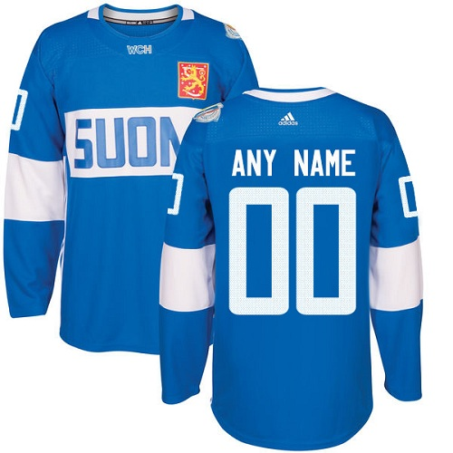 73a74e5e70d Men's Adidas Team Finland Customized Authentic Blue Away 2016 World Cup of  Hockey Jersey