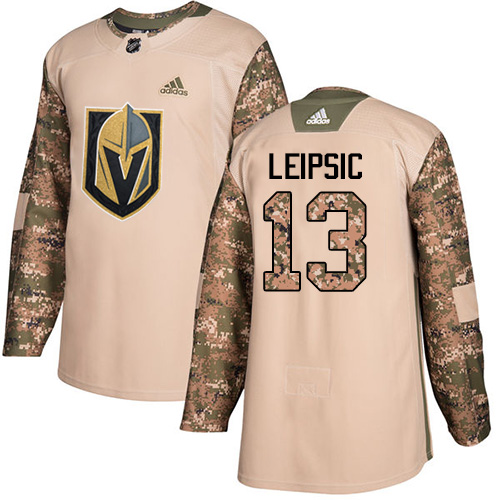 3e34feb7254 Men's Adidas Vegas Golden Knights #13 Brendan Leipsic Authentic Camo  Veterans Day Practice NHL Jersey