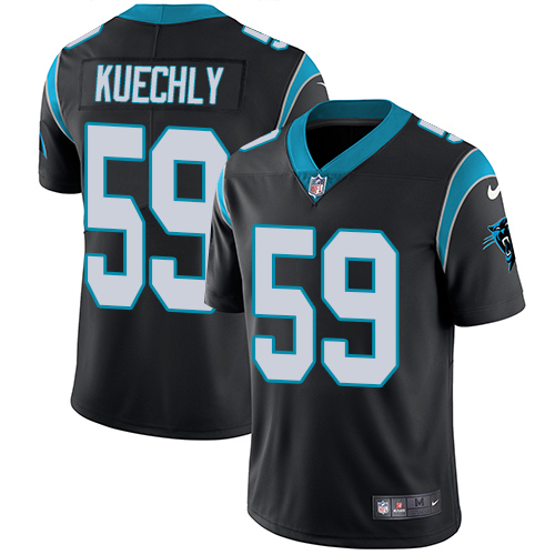 d2252997e Men s Nike Carolina Panthers  59 Luke Kuechly Black Team Color Vapor  Untouchable Limited Player NFL