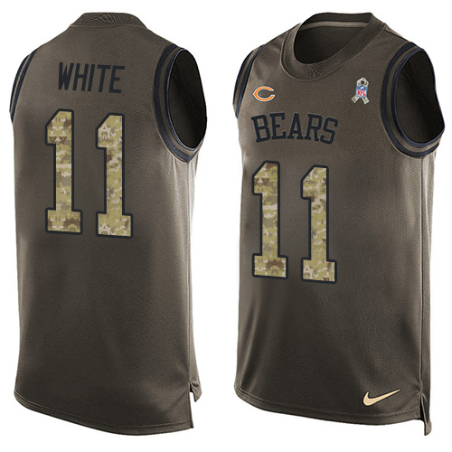 b71381bef Men s Nike Chicago Bears  11 Kevin White Limited Green Salute to Service  Tank Top NFL