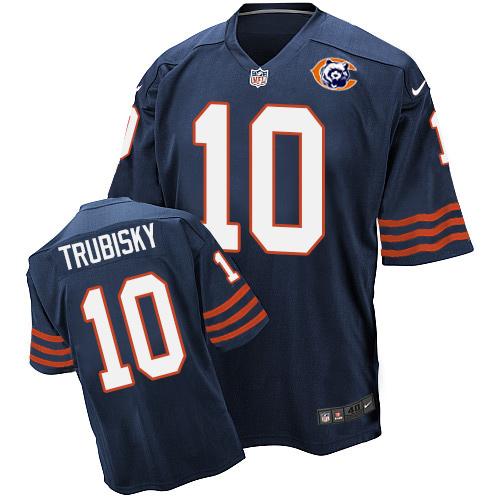 f2986ee26 Men s Nike Chicago Bears  10 Mitchell Trubisky Elite Navy Blue Throwback  NFL Jersey