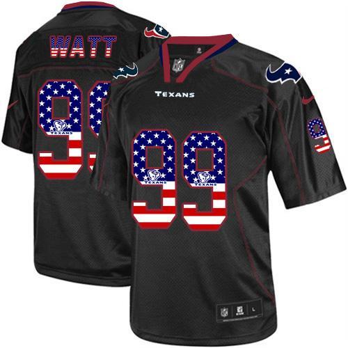 659a53f0d6a Men's Nike Houston Texans #99 J.J. Watt Elite Black USA Flag Fashion NFL  Jersey