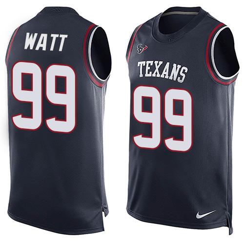 c50747603d1 Men's Nike Houston Texans #99 J.J. Watt Limited Navy Blue Player Name &  Number Tank