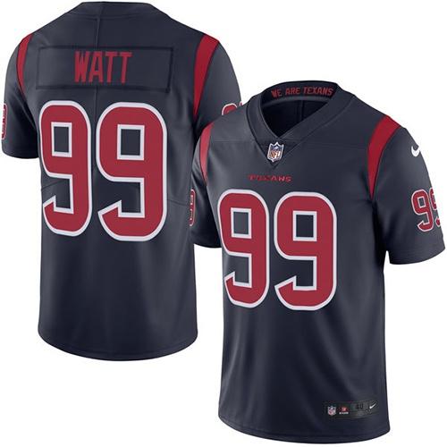 10d35d99e30 Men's Nike Houston Texans #99 J.J. Watt Elite Navy Blue Rush Vapor  Untouchable NFL Jersey