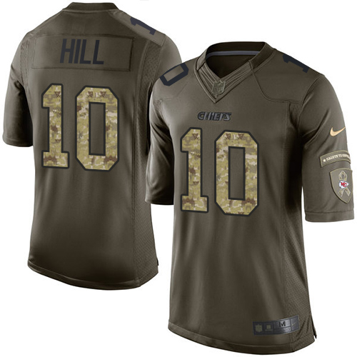 Men s Nike Kansas City Chiefs  10 Tyreek Hill Elite Green Salute to Service  NFL Jersey 6f2b11933