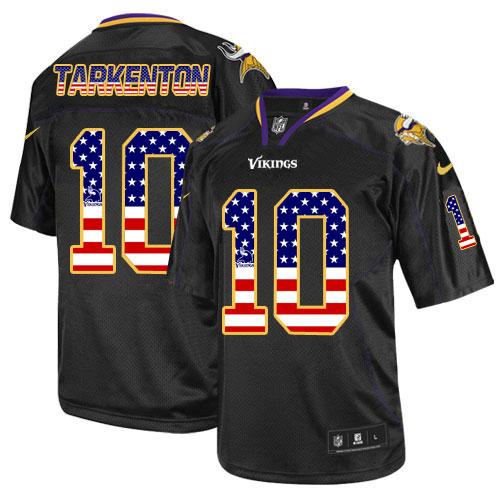 596136370 Men s Nike Minnesota Vikings  10 Fran Tarkenton Elite Black USA Flag  Fashion NFL Jersey