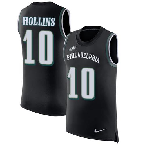 7463b570039 Men's Nike Philadelphia Eagles #10 Mack Hollins Black Rush Player Name &  Number Tank Top