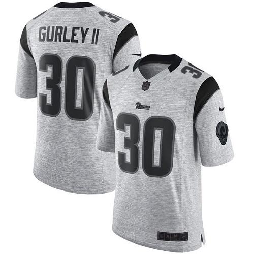 Men s Nike Los Angeles Rams  30 Todd Gurley Elite Gray Gridiron II NFL  Jersey c73163595