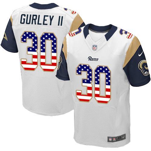 Men s Nike Los Angeles Rams  30 Todd Gurley Elite White Road USA Flag  Fashion NFL 278edfc4c
