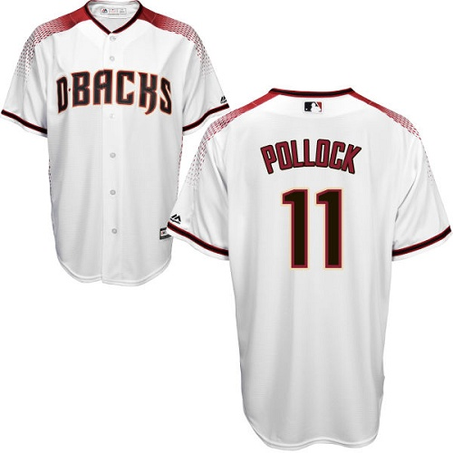 Men's Majestic Arizona Diamondbacks #11 A. J. Pollock Authentic White Home Cool Base MLB Jersey