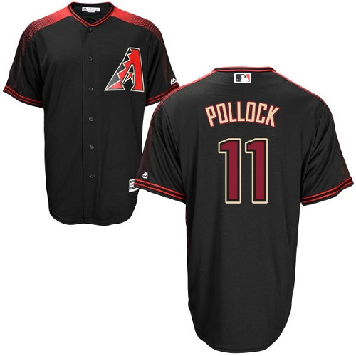 Men's Majestic Arizona Diamondbacks #11 A. J. Pollock Authentic Black Alternate Home Cool Base MLB Jersey