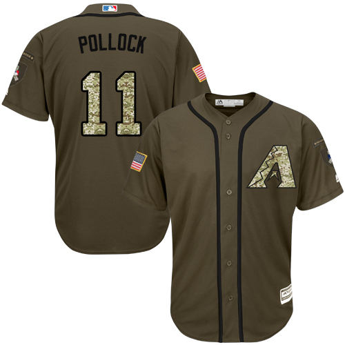 Men's Majestic Arizona Diamondbacks #11 A. J. Pollock Authentic Green Salute to Service MLB Jersey