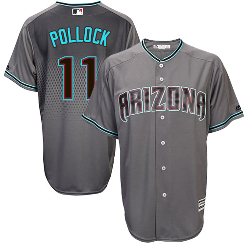 Men's Majestic Arizona Diamondbacks #11 A. J. Pollock Authentic Gray/Turquoise Cool Base MLB Jersey