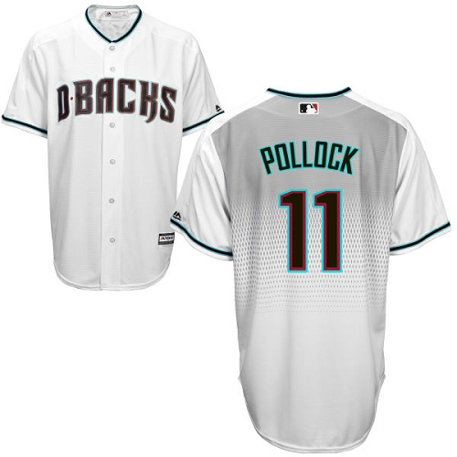 Men's Majestic Arizona Diamondbacks #11 A. J. Pollock Replica White/Capri Cool Base MLB Jersey