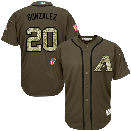 Men's Majestic Arizona Diamondbacks #20 Luis Gonzalez Authentic Green Salute to Service MLB Jersey