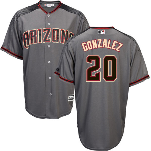 Men's Majestic Arizona Diamondbacks #20 Luis Gonzalez Authentic Grey Road Cool Base MLB Jersey