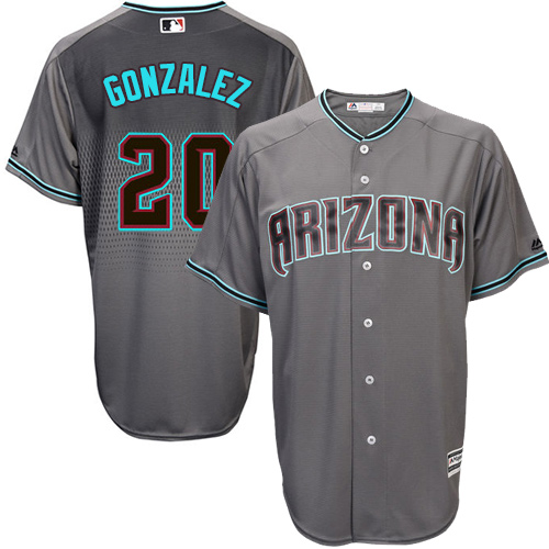Men's Majestic Arizona Diamondbacks #20 Luis Gonzalez Authentic Gray/Turquoise Cool Base MLB Jersey