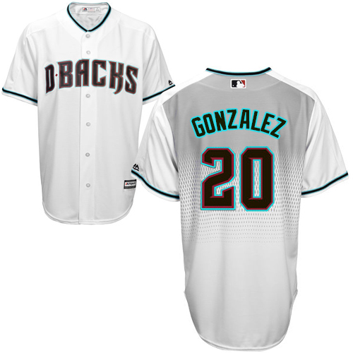 Men's Majestic Arizona Diamondbacks #20 Luis Gonzalez Authentic White/Capri Cool Base MLB Jersey