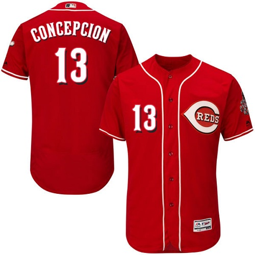 Men's Majestic Cincinnati Reds #13 Dave Concepcion Red Flexbase Authentic Collection MLB Jersey