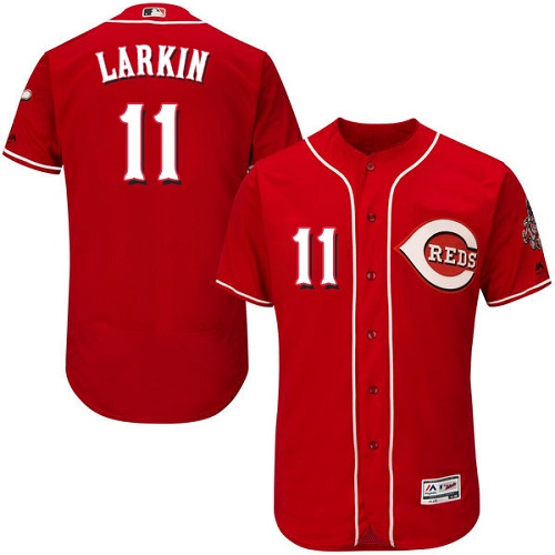 Men's Majestic Cincinnati Reds #11 Barry Larkin Red Flexbase Authentic Collection MLB Jersey