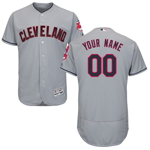 Men's Majestic Cleveland Indians Customized Authentic Grey Road Cool Base MLB Jersey