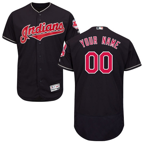 Men's Majestic Cleveland Indians Customized Authentic Navy Blue Alternate 1 Cool Base MLB Jersey