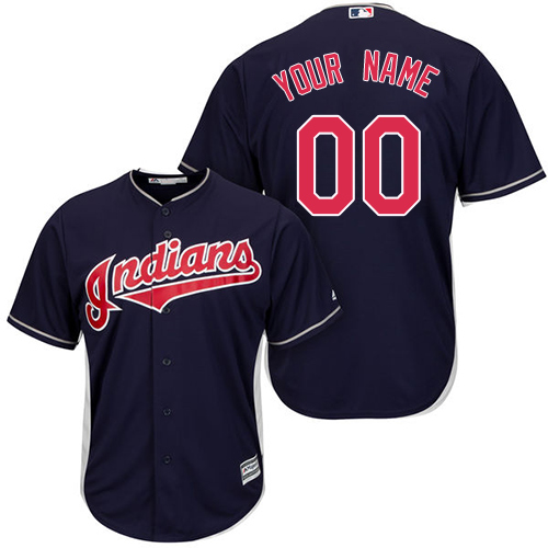 Men's Majestic Cleveland Indians Customized Replica Navy Blue Alternate 1 Cool Base MLB Jersey
