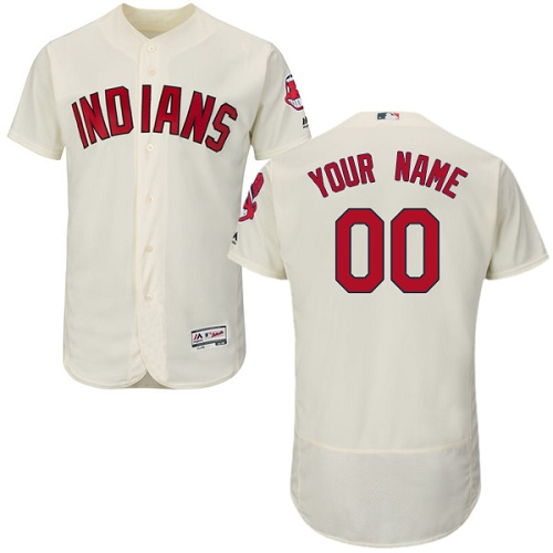 Men's Majestic Cleveland Indians Customized Authentic Cream Alternate 2 Cool Base MLB Jersey
